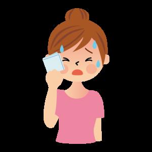 汗を拭く女性のイラスト