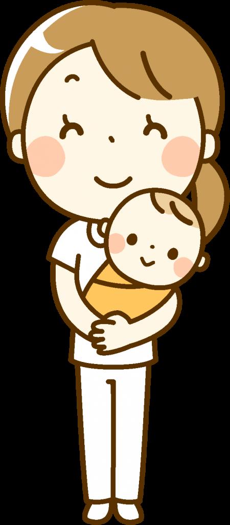 赤ちゃんを抱いている女性のイラスト